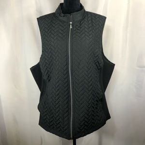 Avenue Womens Black Quilted Vest Full Zip Stretch